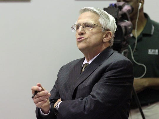 Lane Roy, attorney for Lafayette Parish School Board Superintendent Pat Cooper, speaks during a disciplinary hearing for Cooper Wednesday, November 5, 2014, at the Lafayette Parish School Board office in Lafayette, La.
