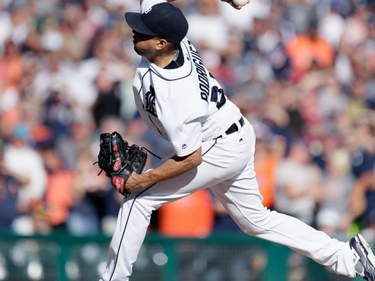 Francisco Rodriguez, #57 of the Detroit Tigers, pitches against the Kansas City Royals during the ninth inning at Comerica Park on Sept. 24, 2016 in Detroit. Rodriguez gave up four hits and five runs for his fifth blown save in a 7-4 loss to the Royals.