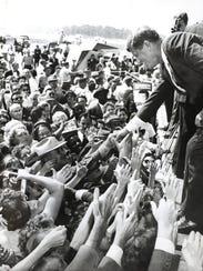 Democratic Presidential nominee John F. Kennedy campaigns