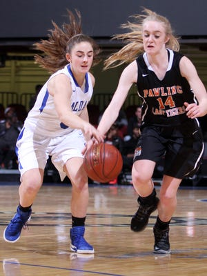 Haldane's Julia Rotando strips the ball from Pawling's  Mackenzie Meissner during a Section 1 Class C semifinal basketball game at the Westchester County Center Feb. 28, 2017. Haldane defeated Pawling 64-37.