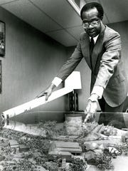 Tuskegee University president Benjamin Payton with a model of the Tuskegee campus in 1981. (Montgomery Advertiser File)