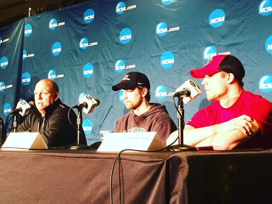 St. Cloud State coach Bob Motzko, left, senior center David Morley, center and senior defenseman Ethan Prow at the NCAA West Regional men's hockey press conference Friday at Xcel Energy Center in St. Paul.