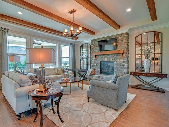 The Colton's inviting family room is open to the kitchen