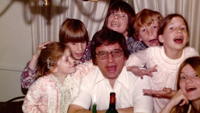 """Big Ed"" Pobur with his six children on Christmas Eve 1972."