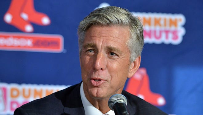 Dave Dombrowski, the Boston Red Sox new team president, speaks to reporters after being introduced at a baseball news conference Wednesday, Aug. 19, 2015, at Fenway Park in Boston.
