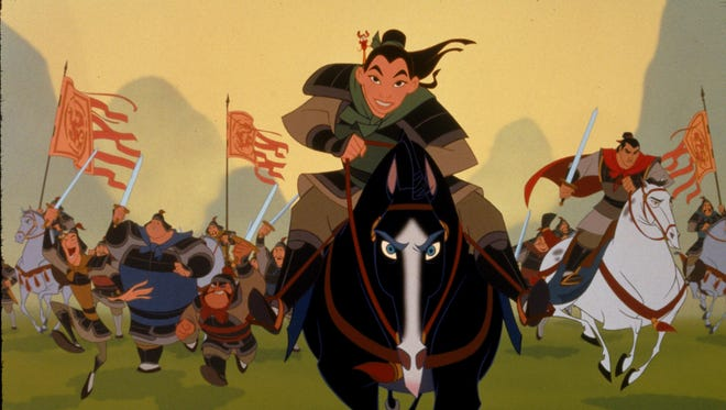 A scene from the Disney animated film Mulan in which Mulan disguises herself as a man and takes her father's place in the Imperial Army to save his life.