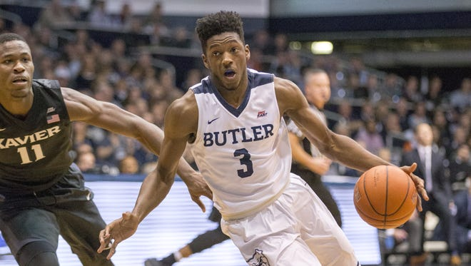 Kamar Baldwin of Butler drives on Malcolm Bernard of Xavier, second half, Xavier at Butler, Hinkle Fieldhouse, Indianapolis, Saturday, January 14, 2017. Butler won 83-78 over their ranked opponent.