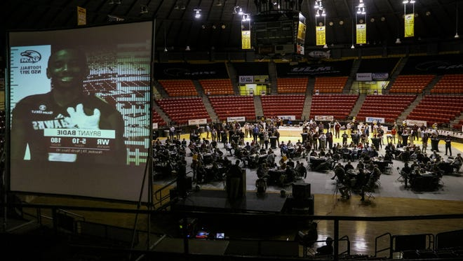 Over 400 ULM fans gathered in Fant-Ewing Coliseum on Wednesday night to celebrate the football program's top-ranked recruiting class in the Sun Belt Conference.