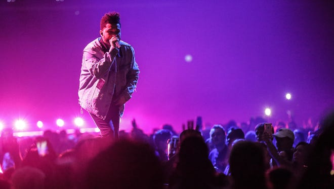 The Weeknd performs at Bankers Life Fieldhouse in Indianapolis Indiana on Wednesday, Sept. 20, 2017. The evening's lineup included Lil Panda, Nav, Gucci Main and The Weeknd.