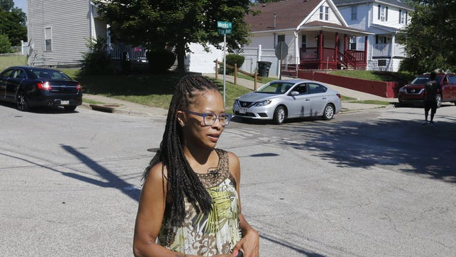 Akron Ward 5 Councilwoman Tara Samples talks to reporters in July 2019 near the scene of a shooting.