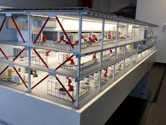 A model of the Gigafactory's interior shows workers