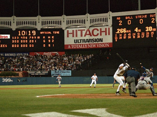 The scoreboard at Yankee Stadium shows the Yankees are about to be shut out 6-0 by Mets pitcher Dave Mlicki in the first regular-season Subway Series game on June 16, 1997.