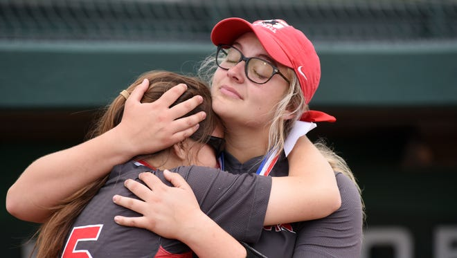 Sheridan's Melanie Clum consoles freshman Makayla Sheridan following the Generals' 1-0 loss to Fairfield Union on Thursday in a Division II district final at Ohio University.