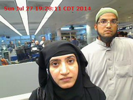 Tashfeen Malik, left, and Syed Farook, as they passed