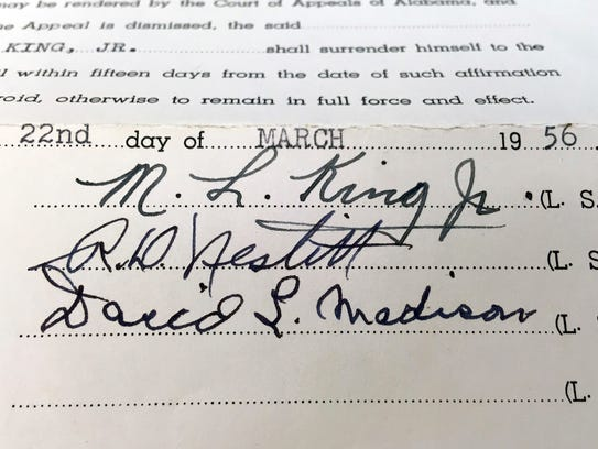 This photo shows the signature of the Rev. Martin Luther