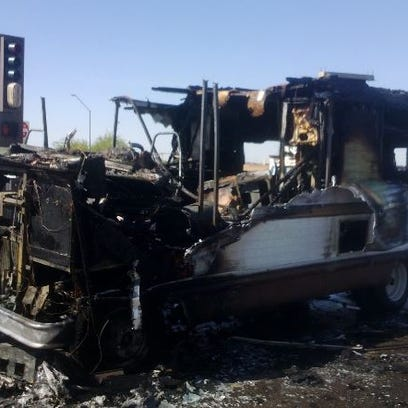 This picture shows all that is left of the RV after