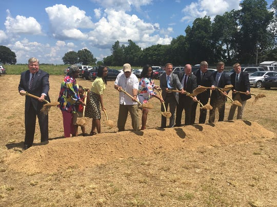 Ground breaks Tuesday, July 10, 2018, for the new TBI Crime Lab in Jackson.