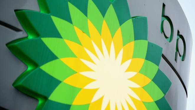 A sign for a BP filling station in London.