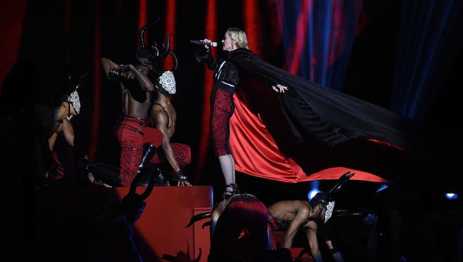 Madonna on stage during the BRIT Awards 2015 at The O2 Arena on February 25, 2015 in London, England.