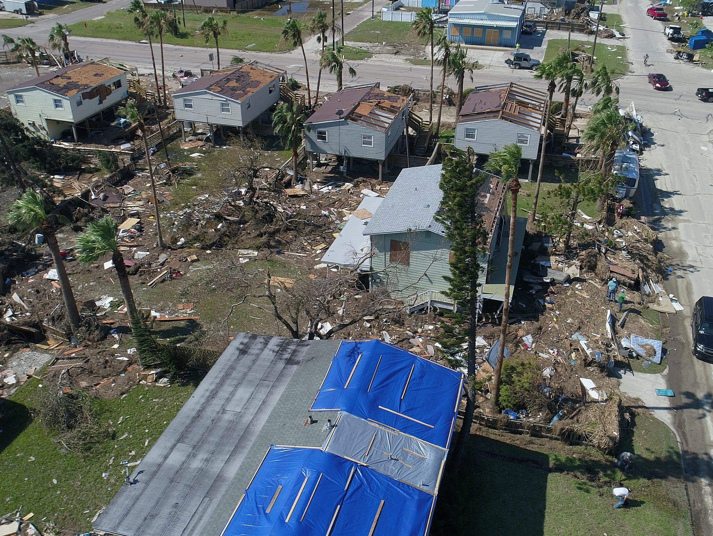 This aerial view of Port Aransas shows mass devastation following Hurricane Harvey. How the city rebuilds could determine how it defines its identity in the aftermath of the hurricane.