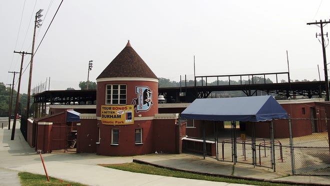 "Durham Athletic Park in Durham, N.C. The former home of the Durham Bulls and the site of where the movie ""Bull Durham"" was filmed. The movie ""Bull Durham"" follows the Class A Durham Bulls through a season - sort of - as savvy veteran catcher Crash Davis (Kevin Costner) reluctantly tutors wild young pitcher Nuke LaLoosh (Tim Robbins)."