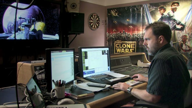 "Oscar-nominated ""Star Wars: The Force Awakens"" sound editor David Acord working at Skywalker Sound."