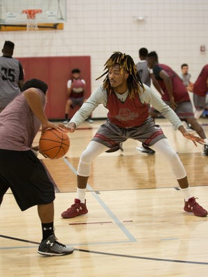 Marlon Jones, right, is one of the new additions for New Mexico State this season. Jones and the Aggies begin the 2016-17 season Friday night against Arizona Christian at the Pan American Center.