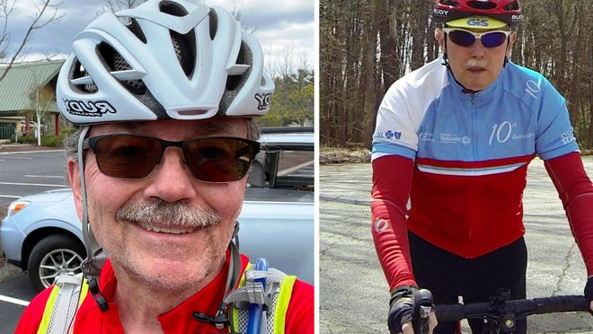 From left, Chelmsford cyclists Chris Harris and Allen Beebe, are participating in the Cycle the Seacoast ride for the American Lung Association. The ride is held virtually this year, due to the coronavirus.
