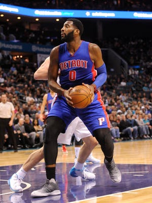 Pistons forward center Andre Drummond (0) looks to shoot during the first half Tuesday in Charlotte, N.C.
