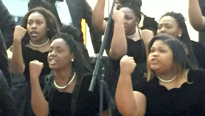 The Coahoma Community College Gospel Choir performs in Washington on Thursday, Sept. 15, 2016.