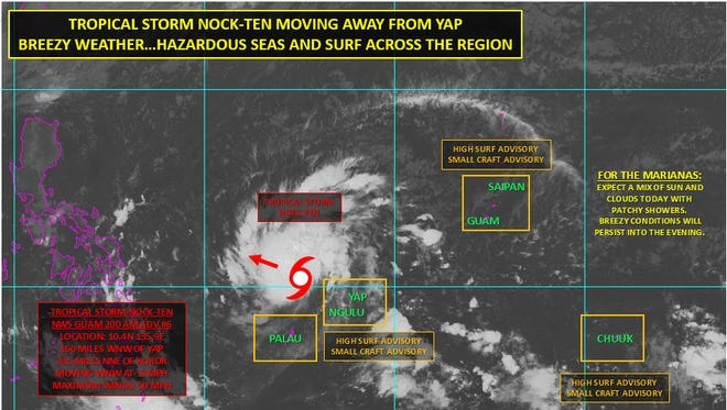 Tropical Storm Nock-Ten continues to strengthen as it heads away from Yap and Ngulu Islands, but it will pose no further threat to Guam and the Commonwealth of the Northern Mariana Islands, according to the National Weather Service Guam.