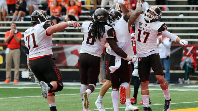 Bowling Green Falcons wide receiver Darrell Hunter (1) celebrates his touchdown against the Maryland Terrapins at Byrd Stadium with wide receiver Ryan Burbrink (17).