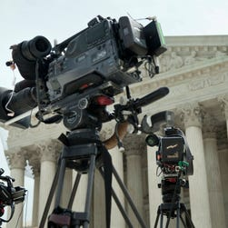 Cameras are setup in anticipation for the Supreme Court Justice nomination hearings of Elena Kagan outside the Supreme Court building June 28, 2010 in Washington, DC. The court does not allow any live-streaming of its sessions.