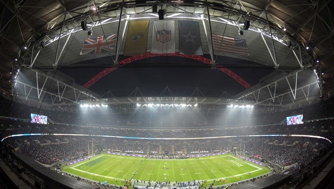 General view of the opening kickoff of the NFL International Series game between the Dallas Cowboys and Jacksonville Jaguars at Wembley Stadium on Nov. 9, 2014.