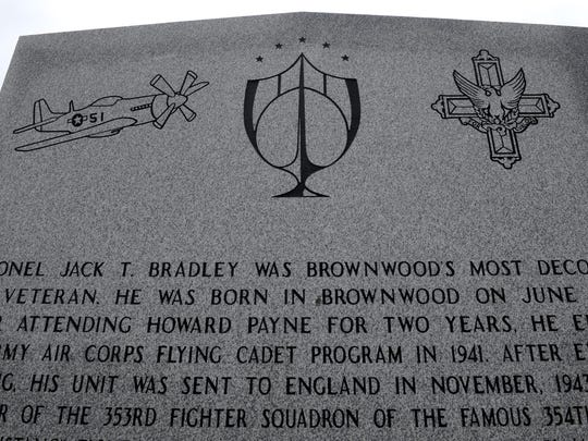 The top of a memorial to Col. Jack Bradley, a triple-ace from World War II, at the 36th Division War Memorial Park in Brownwood.