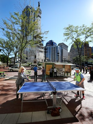 Big Car Collaborative broke out ping pong tables and art trucks in 21015 to bring foot traffic to Indianapolis' Monument Circle. Spark: Lafayette-West Lafayette will try similar approaches during a 16-week project this summer and fall in the cities' downtowns.