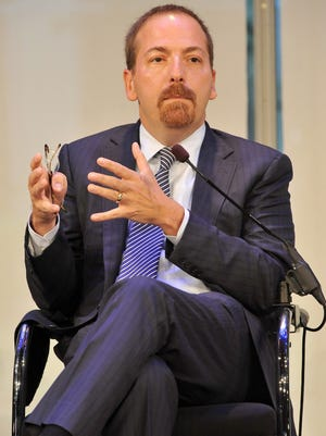 "Chuck Todd speaks in New York City in 2015. President Trump, in a Saturday morning tweet, called Todd ""sleepy eyes"" and chided him for his coverage of potential Russian interference in the 2016 election."