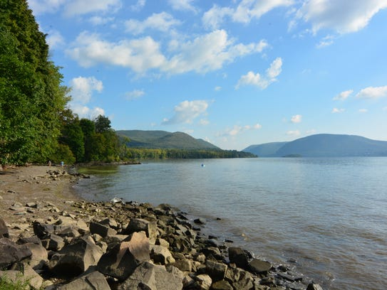 View of the Hudson along the trail at Denning's Point.