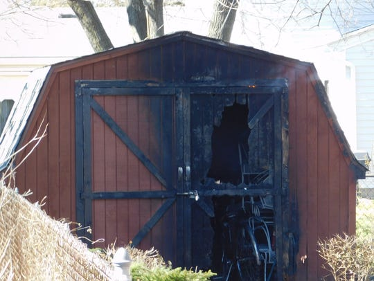 A shed in the 15000 block of Susanna in Livonia damaged