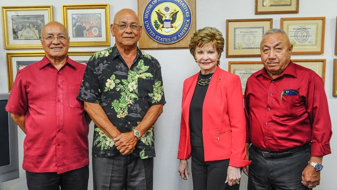 In this May 2016 file photo, Guam Del. Madeleine Bordallo, second from right, is photographed with Guam veterans, from left, retired Marine Col. Joaquin 'Danny' Santos, retired Army Sgt. Major Juan Blaz and retired Army Command Sgt. Major Martin Manglona, after a press conference at her office in Hagatna on May 4. Blaz and Martinez are the only two surviving Guam service members of seven soldiers, who received Distinguished Service Cross medals for their actions while serving in Vietnam.