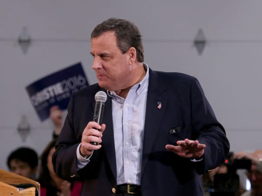 Republican presidential candidate New Jersey Gov. Chris Christie speaks during a campaign stop at the launch of a four day New Hampshire bus tour, Saturday, Dec. 19, 2015, in Exeter, N.H. (AP Photo/Mary Schwalm)