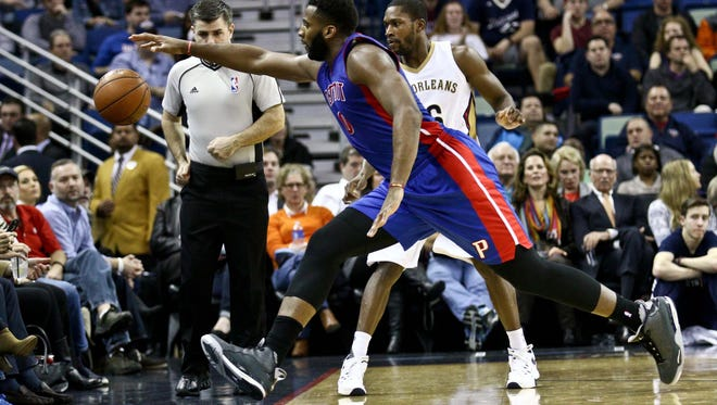 Jan 21, 2016; New Orleans, LA, USA; Detroit Pistons center Andre Drummond (0) attempts to save a loose ball from going out of bounds during the second quarter of a game against the New Orleans Pelicans at the Smoothie King Center. Mandatory Credit: Derick E. Hingle-USA TODAY Sports