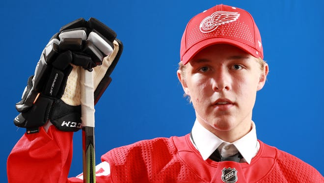 Jonatan Berggren poses after being selected 33rd overall by the Detroit Red Wings during the 2018 NHL Draft at American Airlines Center on June 23, 2018 in Dallas, Texas.
