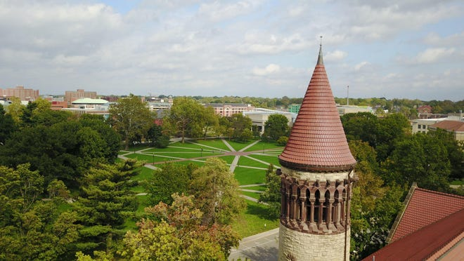 Aerial drone photograph of Ohio State University's Orton Hall
