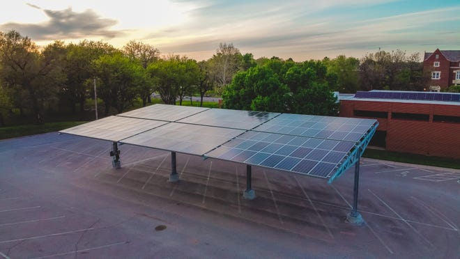 This spring Bethel College has added a solar powered carport to campus. The solar carport  includes two electric car charging stations.