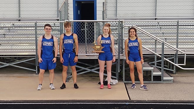Goessel High School track seniors (left to right) Luke Freeman, Jerah Schmidt, Porclein Unruh and Elyse Boden ran a near three-mile medley relay May 1 to get one last run in. Goessel's track season was canceled because of the COVID-19 outbreak.