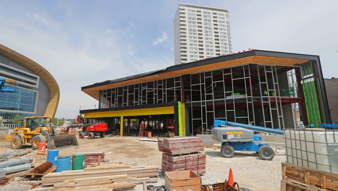A Punch Bowl Social restaurant will open in the Milwaukee Bucks entertainment block under construction outside the new Milwaukee Bucks arena. Thursday, July 12, 2018.