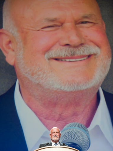 Carolina Hurricanes owner Peter Karmanos Jr., was inducted