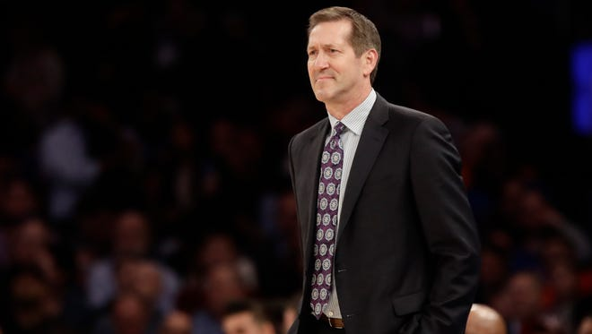 New York Knicks head coach Jeff Hornacek watches his team play during the first half of an NBA basketball game against the Miami Heat, Wednesday, March 29, 2017, in New York. the Knicks were mathematically eliminated from the playoffs for the fourth straight season.