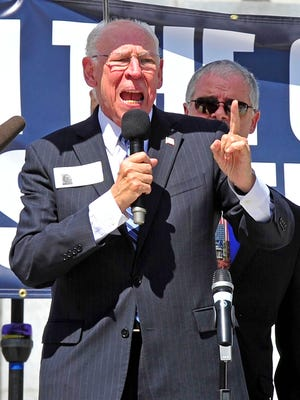 Rafael Cruz, the father of Sen. Ted Cruz, speaks during a rally organized by the Tennessee Pastors Network at War Memorial Plaza in Nashville, Tenn., on Sept. 17, 2015.